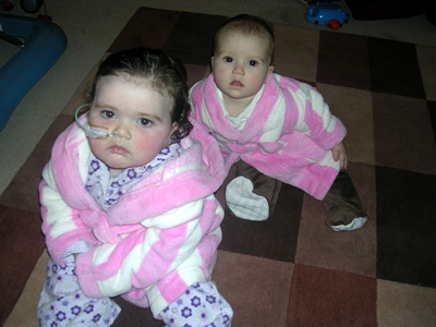 The girls in their dressing gowns