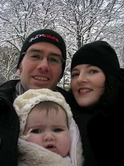 Ruth, Jasmine  and Neil in the snow