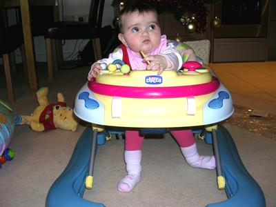 Jasmine in her babywalker