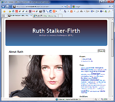 The old kubrick website of Ruth Stalker-Firth