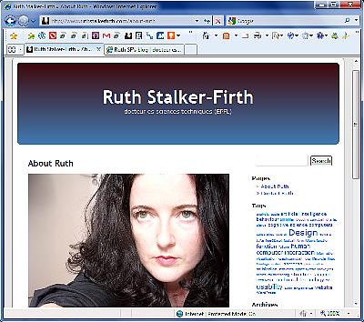 The old kubrick website of Ruth Stalker-Firth