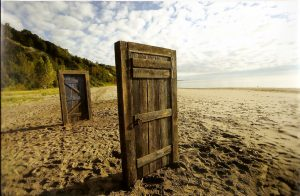 still from series Being Erica door on beach